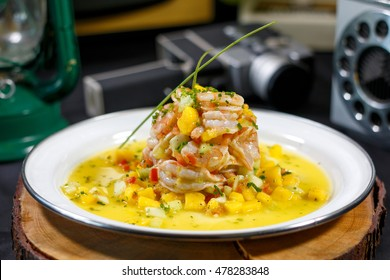 Shrimp with vegetables, Aguachile