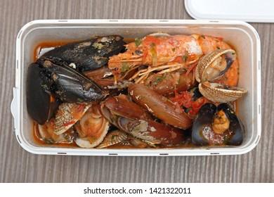Shrimps and Clams Shells Sea Food in Plastic Box
