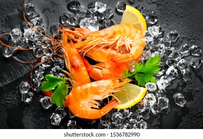 Shrimps. Fresh Prawns on a Black slate Background. Seafood on crashed ice served with herbs, dark backdrop. Served food, preparing healthy food, cooking, diet, nutrition concept. Top view