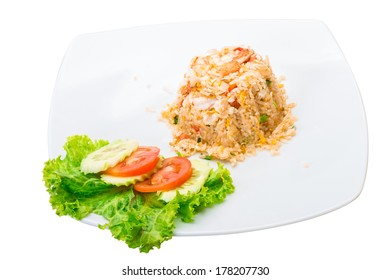 Shrimps with fried rice and vegetable salad
