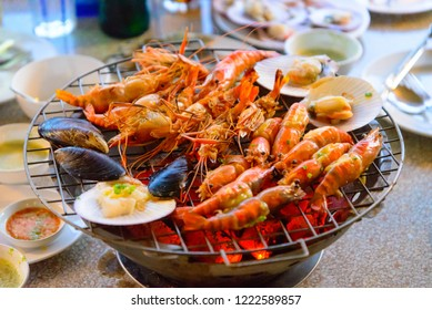 shrimps and seafood grilling