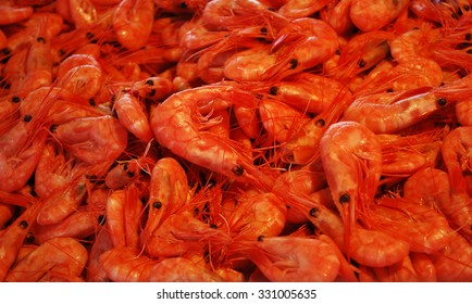 Shrimps at a seafood market in Bergen, Norway