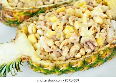 Shrimps served in pineapple with cashew