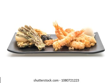 shrimps tempura (battered fried shrimps) isolated on white background