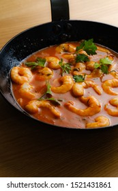 Shrimps in tomatoes sauce ready to be served