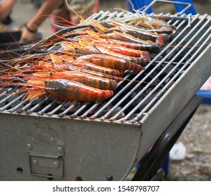 The shrimps were grilled on the stove
