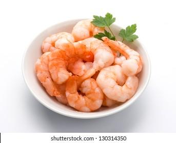 Shrimps in white bowl