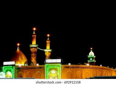 Shrine of Imam Hussain ibn Ali at night, Karbala, Iraq