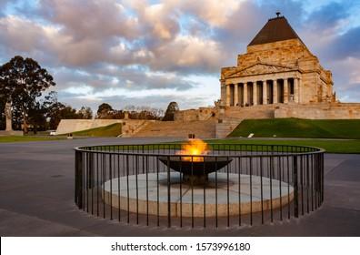 Shrine of Remembrance in Melbourne, Australia at sunset