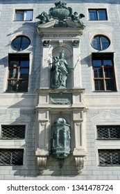 A shrine to the Virgin Mary, patron saint and protector of Bavaria, on the outside wall of the (Residenz) royal palace in Munich, Germany, commissioned by King Maximilian Joseph I in 1616.
