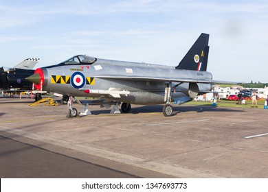 Shropshire United Kingdom - June 10 2018: English Electric Lightning of the Royal Air Force who used it as an interceptor fighter introduced in the 1950s to combat Soviet aircraft during the cold war