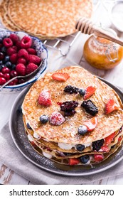 Shrove Tuesday, pancake day, with berry fruits