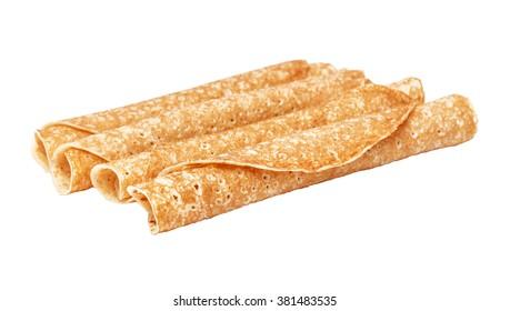Shrovetide, Maslenitsa, tube fishnet pancakes, flapjack,slapjack,  isolated on the white