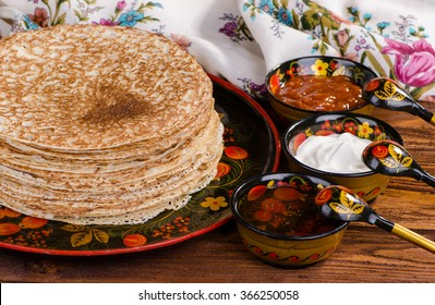 Shrovetide, Russian traditional pancakes - blini, homemade cakes
