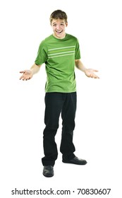 Shrugging smiling young man standing isolated on white background