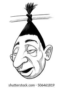 Shrunken Head hanging by its hair.