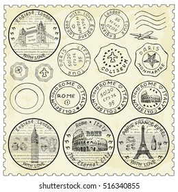 Shtamp with monuments ad famous landmarks. Hand drawn vintage illustration. Travel and tourism background. Line art style.