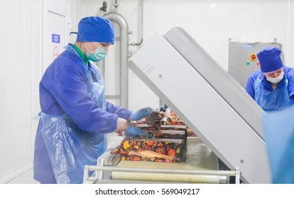 SHUCHIN, BELARUS - JANUARY 26, 2015. Women engaged in the packaging of cheese on a cheese factory.