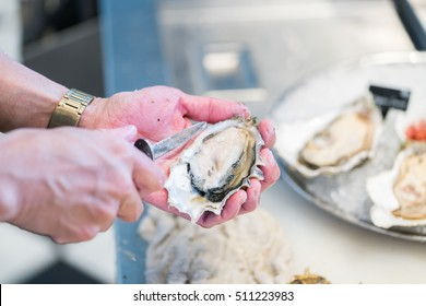 Shucking fresh oysters with a knife