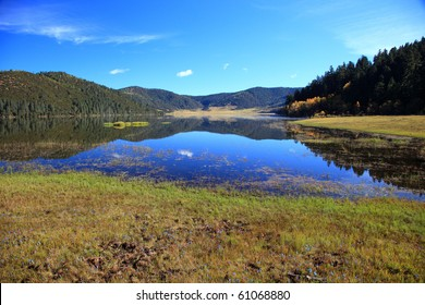 Shudu lake in Autumn. Pudacuo National Park in Yunnan Province, China.