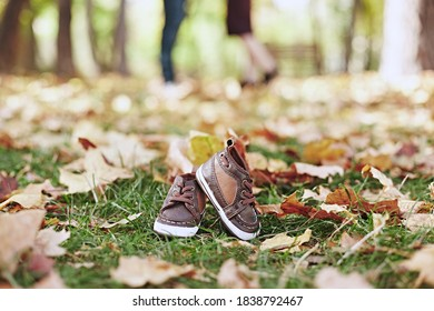 Shues from little Kid. Autumn pregnancy. Pregnancy pattern. Baby shoes.