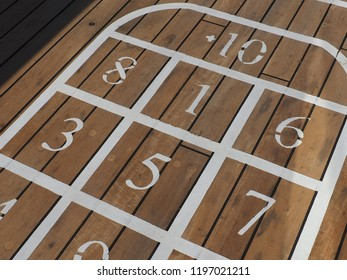 shuffleboard playgroung on wood