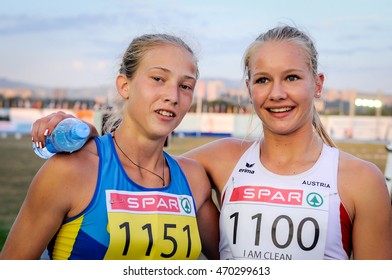 SHUKH Alina (left) and LAGGER Sarah (right) during Heptathlon Girls competition (run stage) at the European Athletics Youth Championships in the Athletics Stadium, Tbilisi, Georgia, 15 July 2016