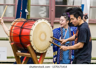 Shukunegi, Japan - April 30 2016: Kodo, the acclaimed taiko drum troupe are based in Sado Island, where they train aspiring young musicians in the ancient art. One day, they will tour internationally