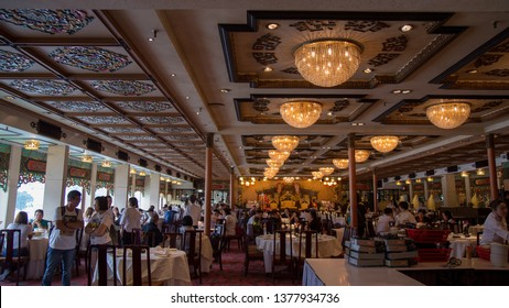 Shum Wan Pier Drive, Wong Chuk Hang,Hong Kong - September 2018 : Jumbo Kingdom Floating Restaurant is biggest floating boat with located on Aberdeen Harbour. One of tourist attractions in HK.