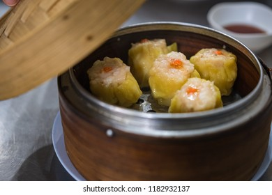 Shumai in basket, Chinese dim sum
