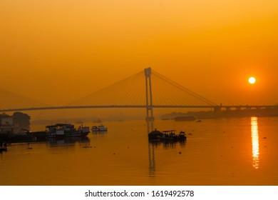 Shun setting over the Visyasagar setu Kolkata India on 17th. January 2020 evening.