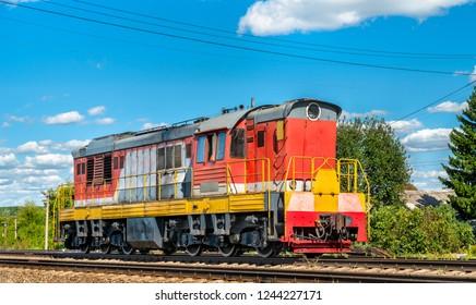 Shunter locomotive at Konyshevka station in Kursk Oblast of Russia