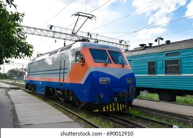 Shunting locomotive at the railway station