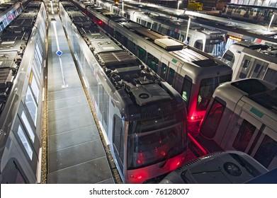 Shunting yard and train depot for subways at night