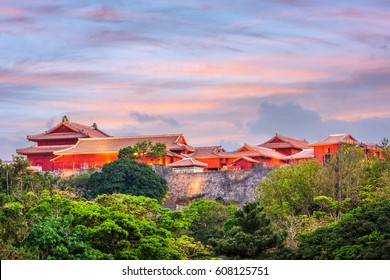 Shuri Castle in Naha, Okinawa, Japan at dusk.