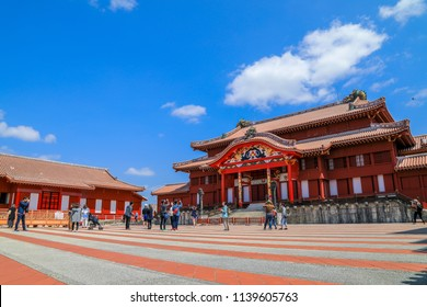 Shuri Castle, Okinawa, Japan - March 23, 2018 : First period of high season for this wonderful island in Japan. There are many peoples coming to visit one of the best castle in the country.