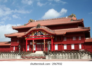 Shuri Castle, in Okinawa, Japan, reconstructed after being destroyed in WW2.