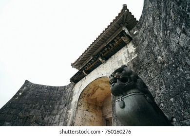 Shuri castle with Shisa, which is a traditional Ryukyuan cultural artifact, in Okinawa, Japan.