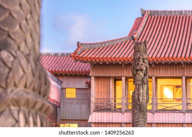 Shuri Castle's dragons stone sculpture in the Shuri neighborhood of Naha, the capital of Okinawa Prefecture, Japan.