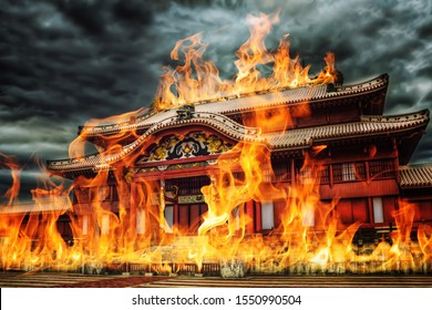 Shurijo or Shuri Castle (Okinawa, Japan) with flames. On the morning of 31 October 2019, the main courtyard structures of the castle were destroyed in a fire