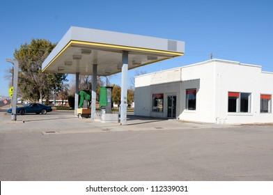 A shut down gas station in a rural town