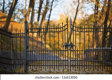 Shut iron spiked gates with blurred autumn trees on the background