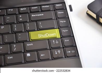 Shutdown keyboard button suggesting business interruption
