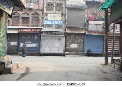 shutdown observed in Kashmir valley against the recent killing in shopian at Srinagar centeral kashmir on monday 26, november,2018
