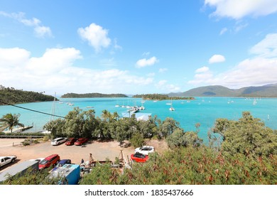 Shute Harbour. Queensland / Australia - August 2 2019 - Shute Habrour in the Whitsundays at the commencement of rebuild works following the destruction of Cyclone Debbie