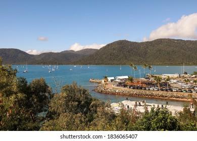 Shute Harbour, Queensland / Australia - August 2 2019: Works have commenced rebuilding Shute Harbour following the destruction of Cyclone Debbie