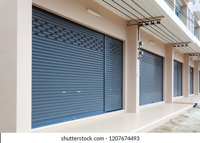 Shutter door or roller door and concrete floor of Commercial Building