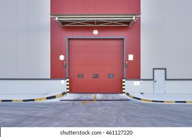 Shutter door or rolling door red color, in new factory construction site