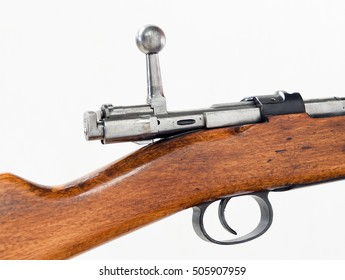 the shutter and trigger of old german carbine of 1898, white isolated  closeup