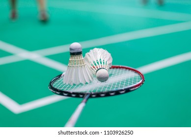 shuttercock on badminton racket with blurred background badminton player, indoor court.